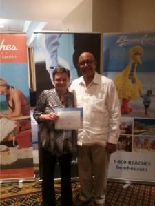 Deb Lacasse with Mr. Peter Frasier, GM of Sandals Grenada